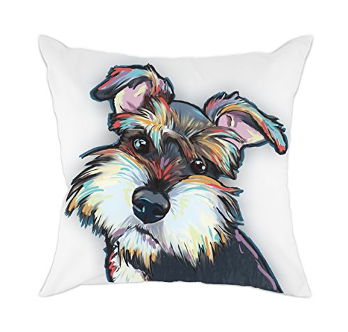 - Redland Art Cute Pet Schnauzer Dog Pattern Cotton Polyester Throw Pillow Cover Car Sofa Cushion Cover Pillowcases Home Decor 18