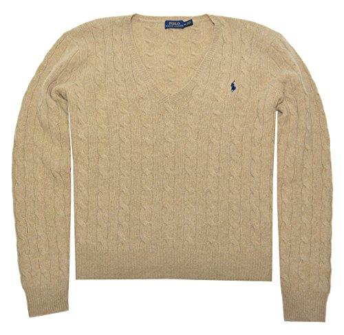 Beige Sweater Cashmere (Polo Ralph Lauren Womens Merino Wool Cashmere Cable Sweater (XL, Dark Beige))