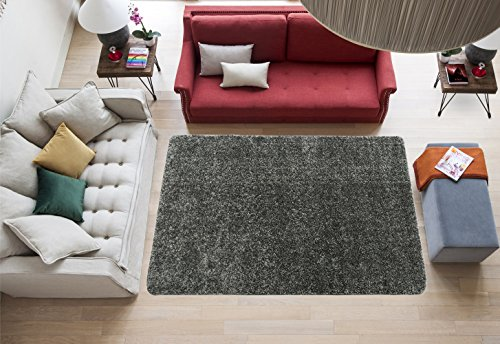 Ottomanson Luxury Collection Solid Rug with Non-Slip/Rubber-Backing Kitchen Area and Bath Rug, 3'3