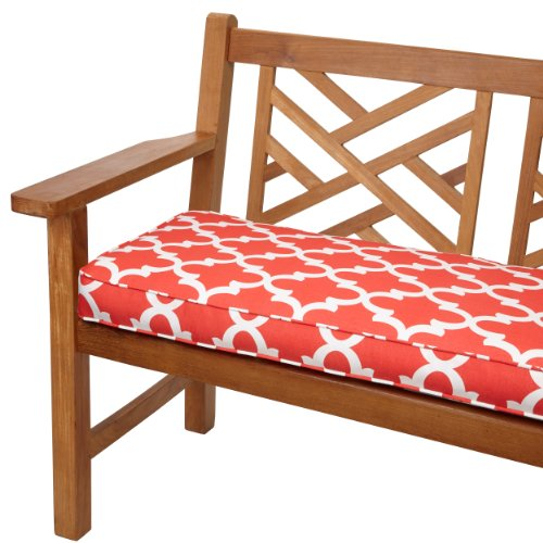 Mozaic Sabrina Corded Indoor/Outdoor Bench Cushion, 48-Inch, Scalloped Coral