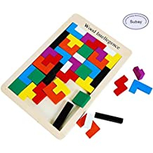 Subay Wooden Tetris Puzzle 40Pcs Colorful Tangram Brain Block Intelligence Puzzle for Preschool Children Playing by