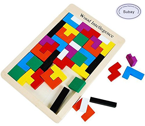 Early Education 40Pcs Colorful Wooden Tangram Jigsaw Brain Tetris Block Intelligence Puzzle for Preschool Children Playing