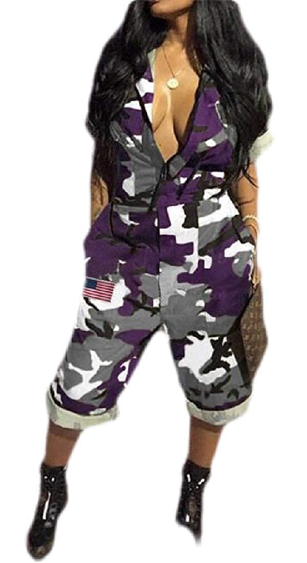 KLJR Women Camouflage Print Short Sleeve Summer Loose Jumpsuit Romper