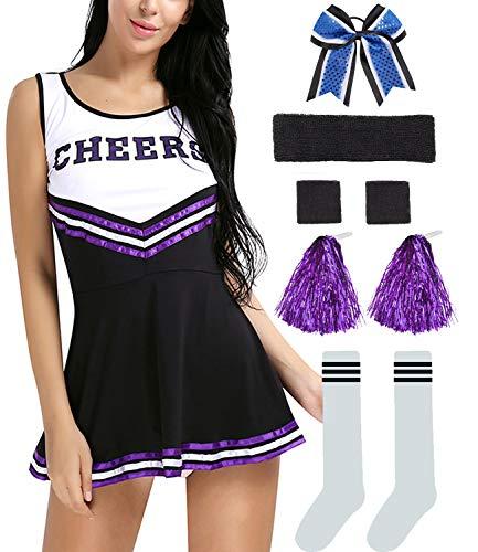 Hofolio Women Musical Cheerleader Costume Uniform Fancy Dress Set Black]()