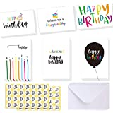 Case of 2 Boxes, 48Packs Per Box, Ohuhu Happy Birthday Gift Cards, 48 Assorted Folded Kids Birthday Greeting Blank Note Cards W/ 48 White Envelopes and 48 Stickers, 4 x 6 inch
