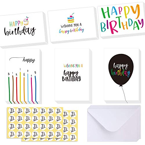 - Case of 2 Boxes, 48Packs Per Box, Ohuhu Happy Birthday Gift Cards, 48 Assorted Folded Kids Birthday Greeting Blank Note Cards W/ 48 White Envelopes and 48 Stickers, 4 x 6 inch