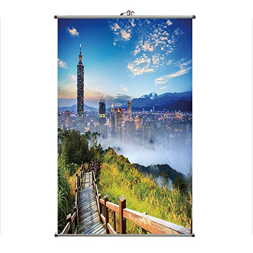 (iPrint Wall Hanging Picture Wall Scroll Poster Fabric Painting,of a City Cosmopolitan Life and Nature with,3D Print Design Personality Customization Make Your Room unique23.6 X47.2)