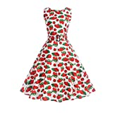 Aoopi Women Vintage Strawberry Print Dresses Sleeveless Halter Evening Party Prom Swing Dress (White, 2XL)