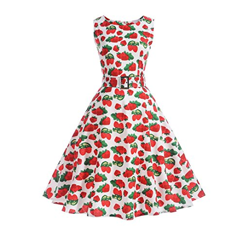 Aoopi Women Vintage Strawberry Print Dresses Sleeveless Halter Evening Party Prom Swing Dress (White, 2XL) by Appoi