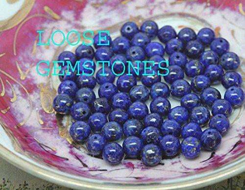 - LOOSE GEMSTONES Natural Lapis Lazuli Gemstone 8mm Smooth Round Loose 48-50pcs Beads 1 Strand for Bracelet Necklace Earrings Jewelry Making Crafts Design Healing