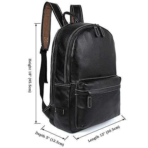 MUMUWU Men's Backpack Leather Backpack 15'' Computer Bag Leather Men's and Women's Backpack Backpack for Men (Color : Black-a, Size : M)