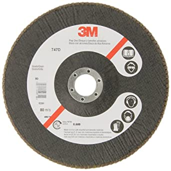 "3M Flap Disc 747D, Ceramic, 7"" Diameter, 80 Grit (Pack of 1)"