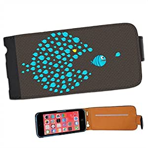 We'll Show You Fish Eating Predator Fish Leather Flip Case Cover for Apple iPhone 5C