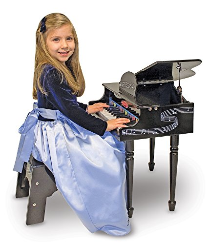 Melissa & Doug Learn-To-Play Classic Grand Piano With 30 Keys, Color-Coded Songbook, and Non-Tip Bench by Melissa & Doug