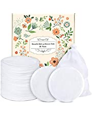 Makeup Remover Pads Reusable 18 Packs Bamboo Cotton Rounds Pads Cleansing Cloth Wipe with Laundry Bag, ProCIV Washable Clean Skin Care Facial Toner Pads Cleansing Towel Wipes| 3.8 inch| White