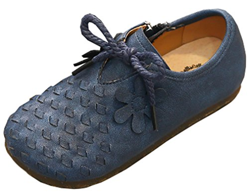 VECJUNIA Girl's Trendy Woven Round Toe Zip up Flat Shoes with Flower (Dark Blue, 10 M US Toddler) by VECJUNIA