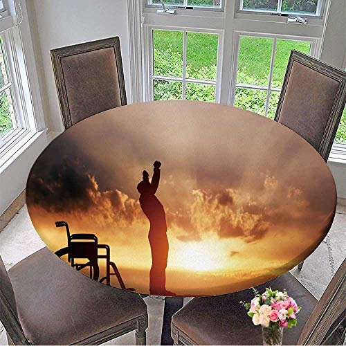 Mikihome Modern Table Cloth A Disabled Man Standing up from Wheelchair at Sunset Positive Concept of Cure, Indoor or Outdoor Parties 35.5