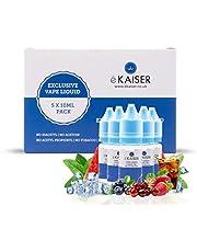 eKaiser- Paquete de 5 eKaiser e-líquidos   Frutas refrescantes de mentol   5 frascos de 10 ml de E-líquido de 0 mg   Jugo de alta calidad sin nicotina para cigarrillos electrónicos y Eshisa