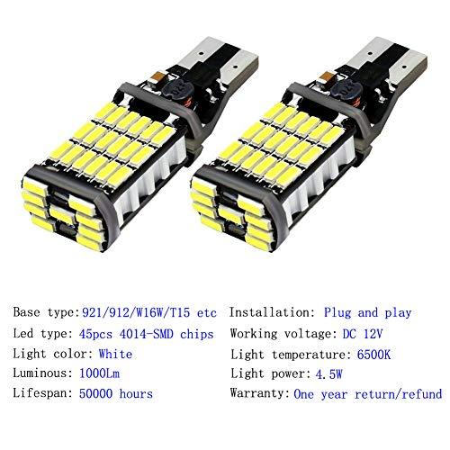 4pcs 912 921 T15 W16W LED Reverse Backup Trunk Cargo Light Bulbs Super Bright 4014 45 SMD 4014 Chipsets CANBUS Backup Light 6500K 4.5W Xenon White