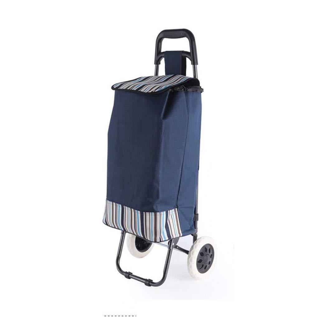 ショッピングカート ショッピングトロリー ショッピングバッグ 荷物カート 折りたたみ可能 ポータブルトロリー プルロッド 家庭 小カート 青   B07K6JNHD7