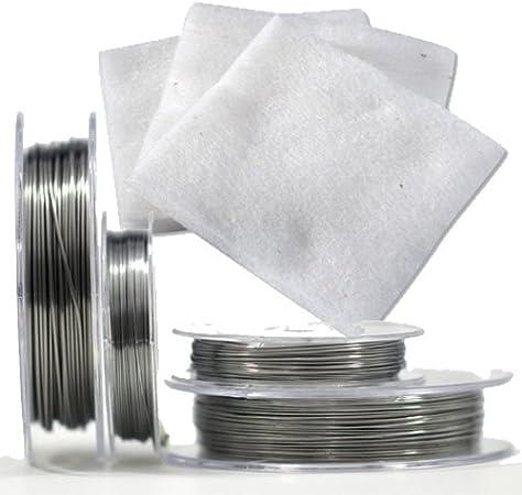 Almohadillas de algodón orgánico japonés MUJI sin tratar, material absorbente + cable de resistencia tipo Kanthal A1, 0,5 mm (24 AWG) 10 metros: Amazon.es: Salud y cuidado personal