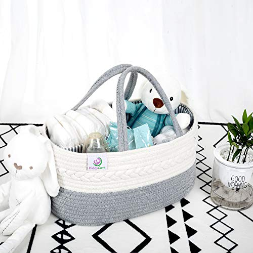 KiddyCare Baby Diaper Caddy Organizer - Stylish Rope Nursery Storage Bin 100% Cotton Canvas Portable Diaper Storage Basket For Changing Table & Car - Top Baby Shower Gift