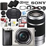 Sony Alpha a6000 Mirrorless Digital Camera with 16-50mm & 55-210mm Lens (Silver) ILCE-6000L/S with Extra Battery Case Memory Deluxe Pro Bundle