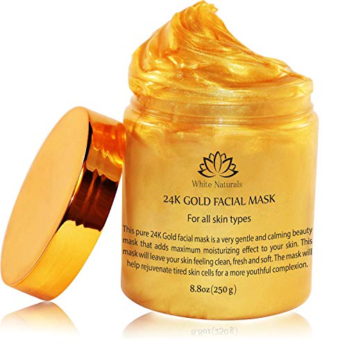 24K Gold Facial Mask By White Naturals: Rejuvenating Anti-Aging Face Mask For Flawless Skin -Reduces Fine Lines, Clears Acne, Minimizes Pores, Moisturizes And Firms Up Your Facial Skin - Gold Leaf Collage