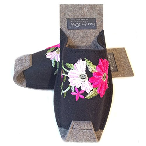 De nbsp;– nbsp;42 nbsp;mujer Merino Negro Pantoffeldiva Zapatillas Unisex Tamaño Flower Fieltro Diva nbsp;– 38 Zapatillas Pink Bordado zqInZwIa