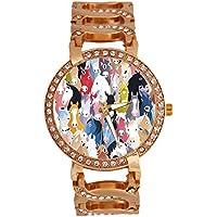 jkfgweeryhrt Women's Wrist Watch Analog Quartz with Chain Bracelet Band Rose Gold Tone Stainless Steel Lady Dress Watch