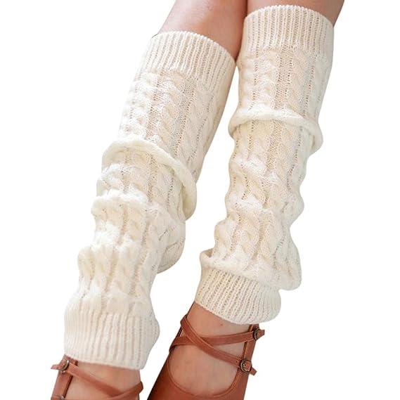Calcetines Mujeres Calentadores De Invierno De Color Puro De La Pierna De Punto De Ganchillo Calcetines