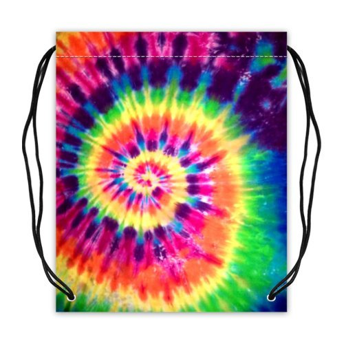 Colorful Tie Dye Basketball Carrying Drawstring Backpack Bag String Sack Cinch Bag for Sports or Traveling (Twin Sides)