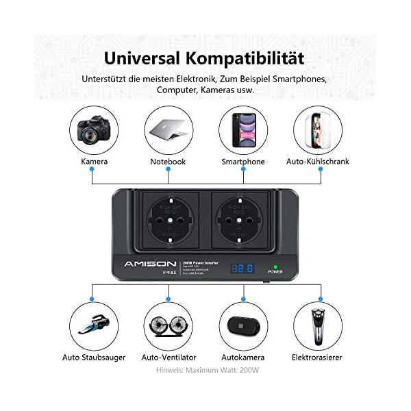 51upkMgsdML 200W KFZ Wechselrichter, Amison Spannungswandler 12V auf 230V mit Smart echtzeitdarstellung LCD, 2 Steckdosen und 4 USB…