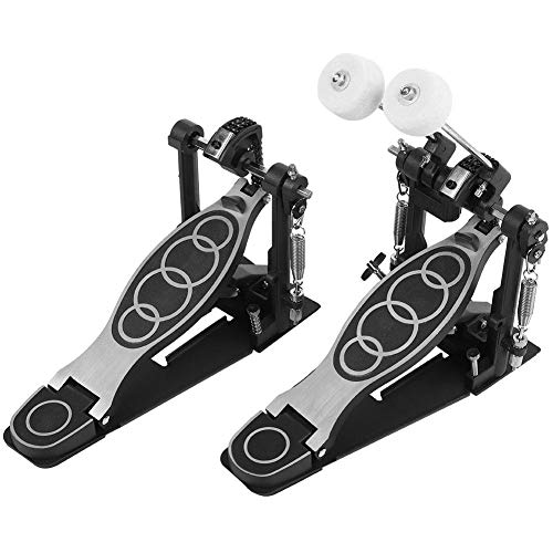 Drum Pedal Black Steel Professional Double Bass Dual Foot kick Double Chain Drive Percussion Drum Set Accessories with 2 Drum Sticks and 1 Wrench for for Metal and Rock Drummers