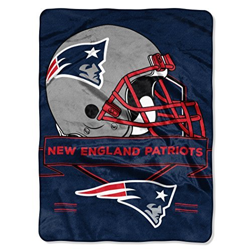 Northwest 0807 NFL New England Patriots Prestige Plush Raschel Blanket, 60