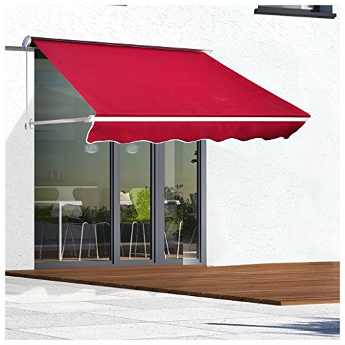 71'' Drop Arm Manual Retractable Window Awning Outdoor - Red by Unknown