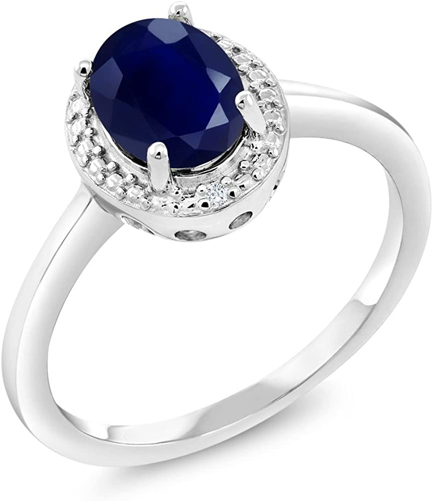 Sterling Silver with 14k 1.80ct Sapphire Ring
