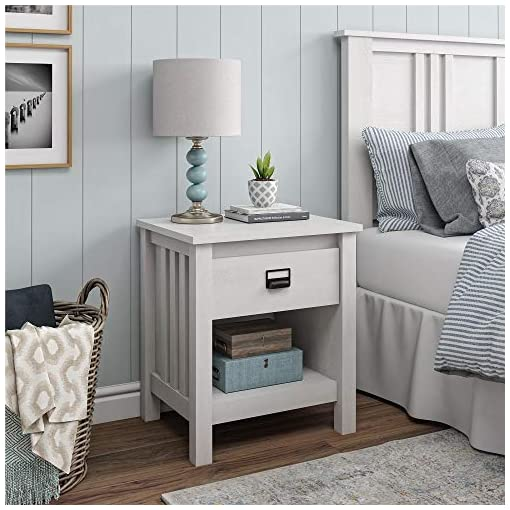 Bedroom Ameriwood Home Adams Nightstand, Ivory Oak farmhouse nightstands