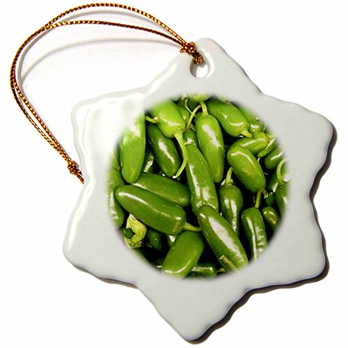 Chili Pepper Christmas Ornaments - 3dRose Florene Food and beverage - Jalapeno Peppers - 3 inch Snowflake Porcelain Ornament (orn_7296_1)