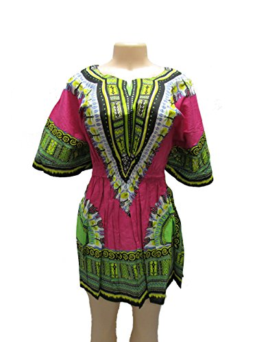 Elegant Women's Traditional Dashiki Dress Print Colors With Elastic Weist (Pink) by Mitchell Lewiss