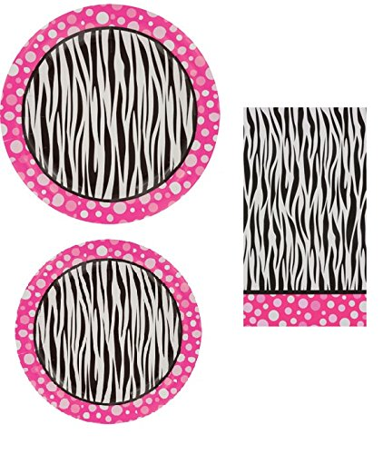 Pink Polka Dot Zebra Print Paper Dinner Plates, Small Plates & Napkin -