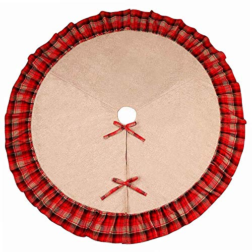 Round Pleated Skirt - Sea Plan 48 Inch Christmas Tree Skirt Linen Round Plaid Ruffled Pleated Skirt Christmas Party Holiday Decorations