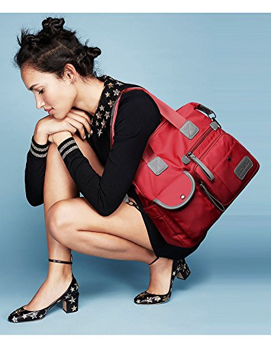 Bolsa de x 34 Oxford bags Bandolera Lona cm 13 30 Lady Mujer de Nailon para Versión Capacidad Tela de Bolso Morado Bolsa Coreana rojo de Gran x Bandolera q51aw7Ra