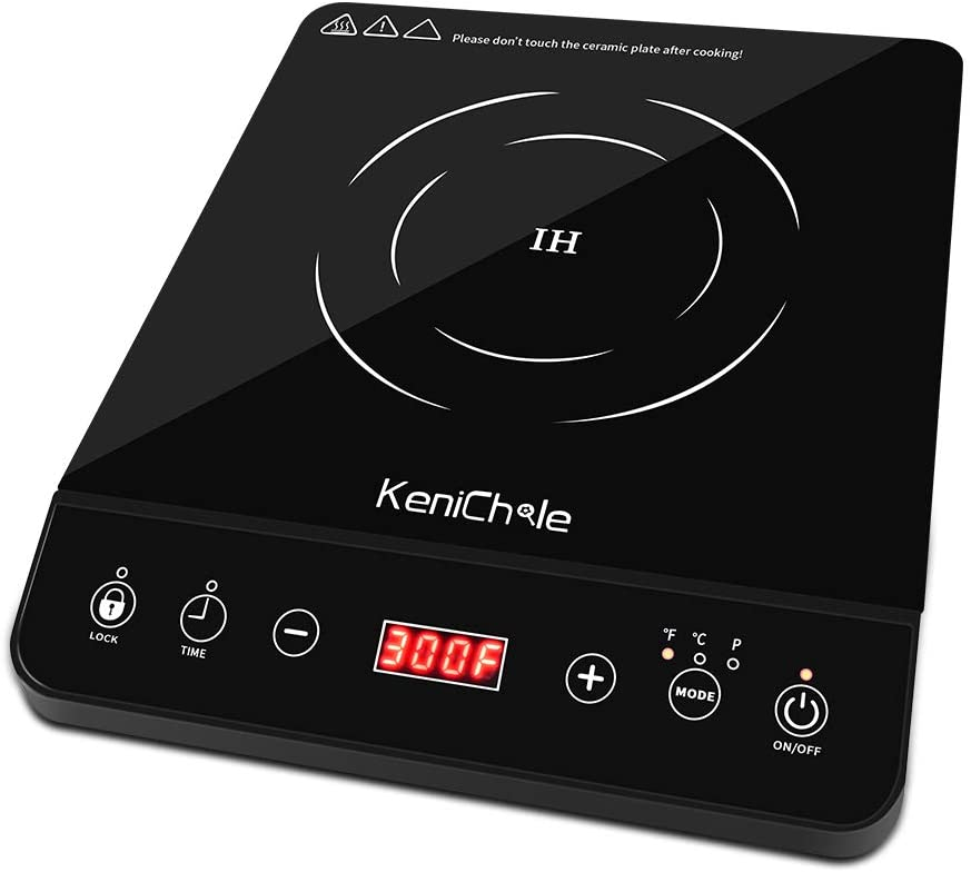 1800W Portable Induction Cooktop Countertop Burner - KeniChole Electric cooktop with 8 Temperature and 8 Power Setting, Induction Burner with Timer, and Child Safety Lock