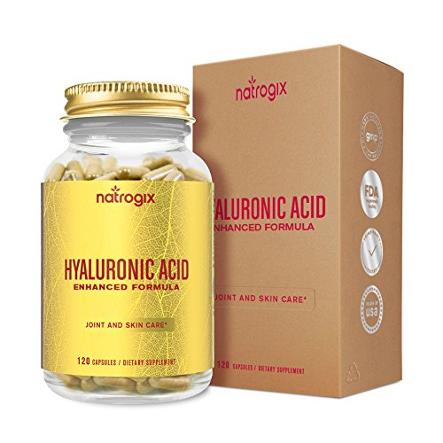 Natrogix Hyaluronic Acid 120mg/Serving - 120 VCaps with Collagen Type II and Chrondroitin Sulfate - Support Healthy Joints and Youthful Skin (60 Days Supply)