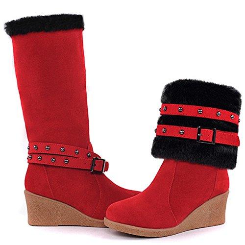 COOLCEPT Botas de Invierno para Mujer Red