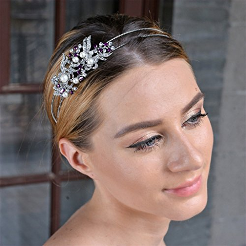 EVER FAITH Austrian Crystal Cream Simulated Pearl Flower Leaf Hair Head Band Purple Silver-Tone