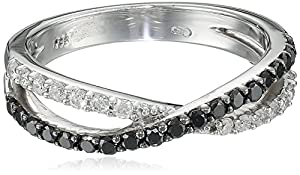 Sterling Silver 0.46 cttw Black and White Diamond Ring, Size 7