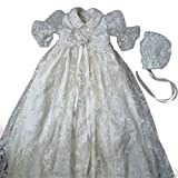 Newdeve Lace Christening Gowns For Baby Girl Cute Lapel With Bow Belt and Bonnet (White, 9-12 Months)