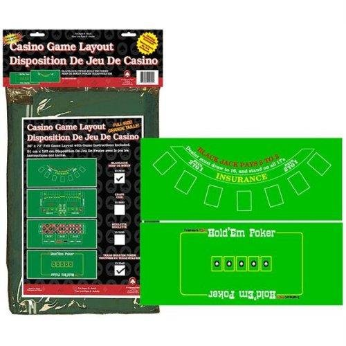 Trademark Poker Blackjack and Texas Hold'em Two-Sided Layout 36-Inch x 72-Inch (Poker Layout)